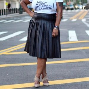 Lane Bryant Pleated Faux Leather Skirt